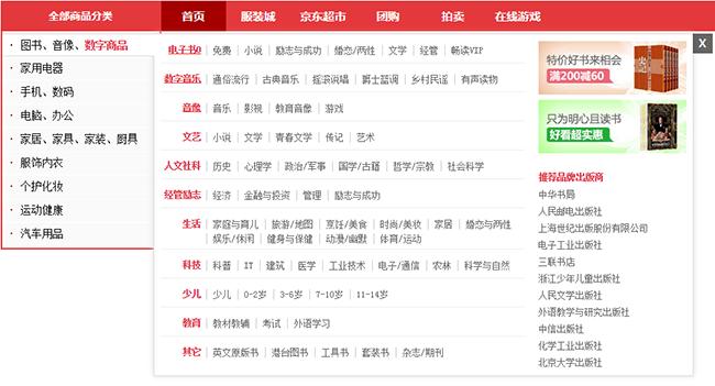 jquery仿京东商城左侧商品分类导航菜单样式特效_模仿京东二级导航栏_商品分类代码
